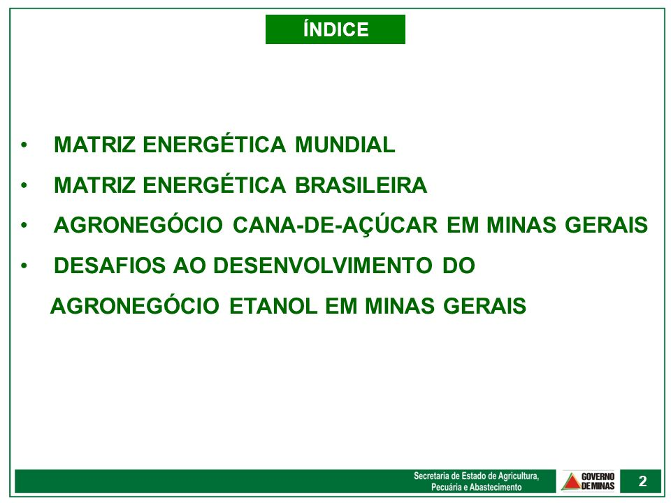 ÍNDICE MATRIZ ENERGÉTICA MUNDIAL MATRIZ ENERGÉTICA BRASILEIRA AGRONEGÓCIO CANA-DE-AÇÚCAR EM MINAS GERAIS DESAFIOS AO DESENVOLVIMENTO DO AGRONEGÓCIO ET