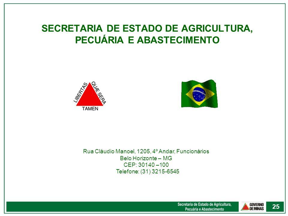 SECRETARIA DE ESTADO DE AGRICULTURA, PECUÁRIA E ABASTECIMENTO Rua Cláudio Manoel, 1205, 4º Andar, Funcionários Belo Horizonte – MG CEP: 30140 –100 Tel