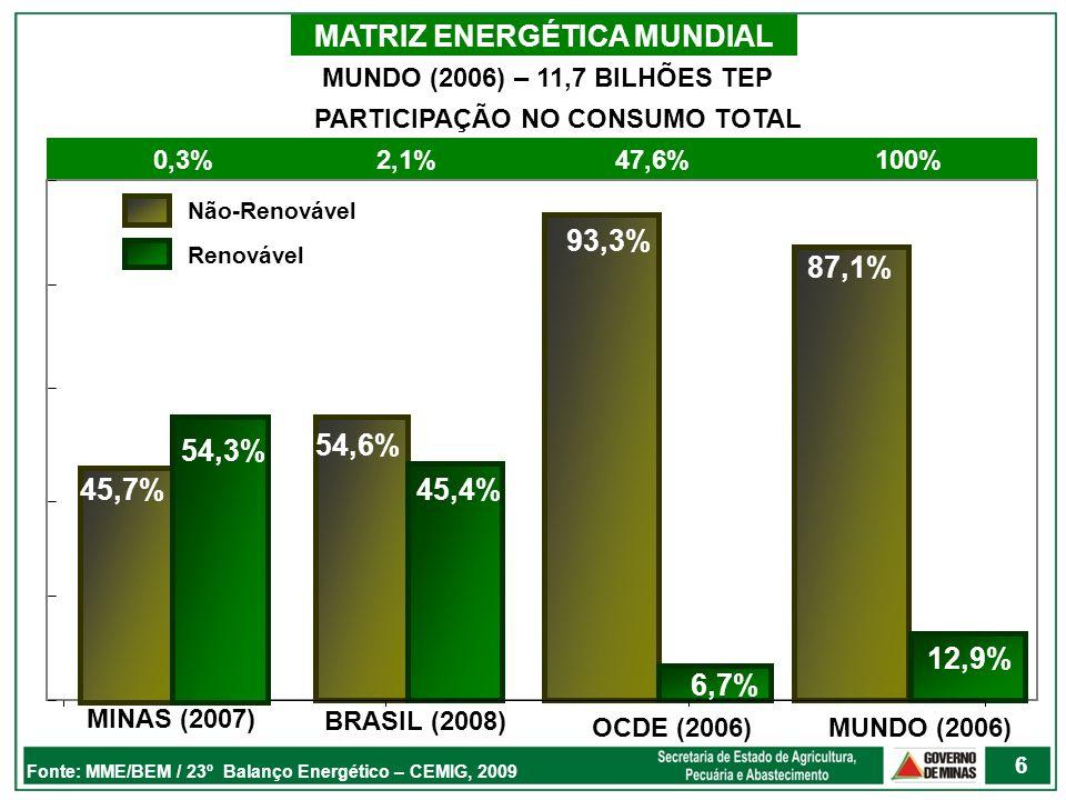MATRIZ ENERGÉTICA BRASILEIRA 20072008 ENERGIA NÃO RENOVÁVEL54,1%54,6% PETRÓLEO E DERIVADOS (%)37,437,3 GÁS NATURAL (%)9,310,2 CARVÃO MINERAL E DERIVADOS (%)6,05,7 URÂNIO E DERIVADOS (%)1,41,5 ENERGIA RENOVÁVEL45,9%45,4% ENERGIA HIDRÁULICA E ELETRICIDADE14,913,9 LENHA E CARVÃO VEGETAL12,011,4 PRODUTOS DA CANA-DE-AÇÚCAR15,916,6 OUTRAS RENOVÁVEIS3,23,4 238,8 MILHÕES tEP251,5 MILHÕES tEP Fonte: MME, 2008 + 5,3% + 9,7% 7