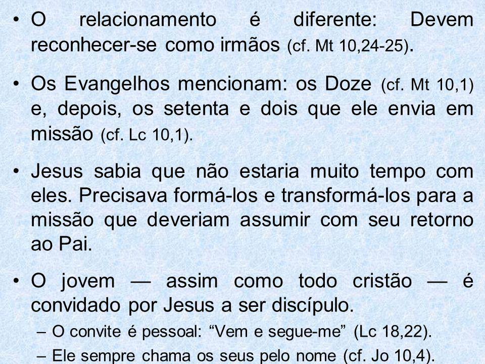 O relacionamento é diferente: Devem reconhecer-se como irmãos (cf. Mt 10,24-25). Os Evangelhos mencionam: os Doze (cf. Mt 10,1) e, depois, os setenta