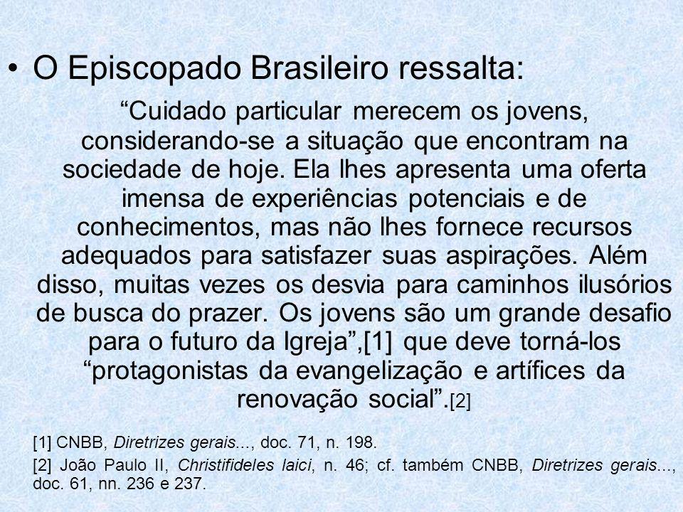 O Episcopado Brasileiro ressalta: Cuidado particular merecem os jovens, considerando-se a situação que encontram na sociedade de hoje. Ela lhes aprese