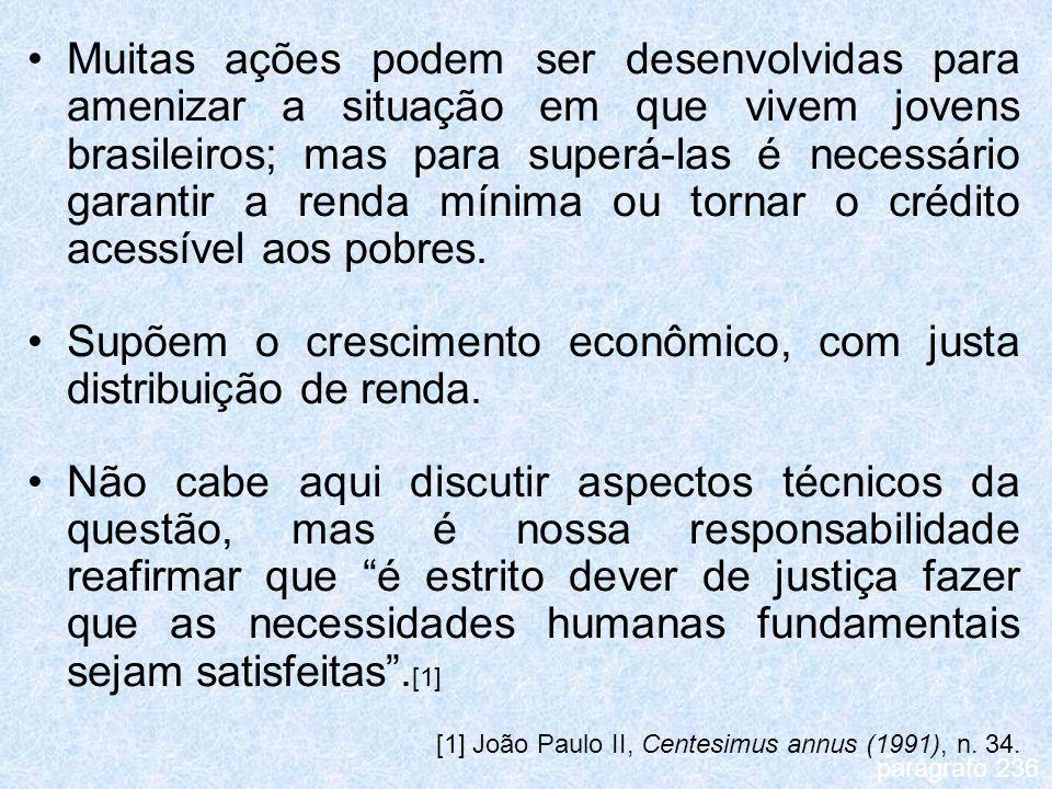 Muitas ações podem ser desenvolvidas para amenizar a situação em que vivem jovens brasileiros; mas para superá-las é necessário garantir a renda mínim