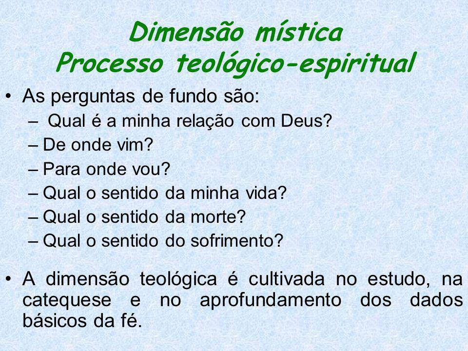 Dimensão mística Processo teológico-espiritual As perguntas de fundo são: – Qual é a minha relação com Deus? –De onde vim? –Para onde vou? –Qual o sen
