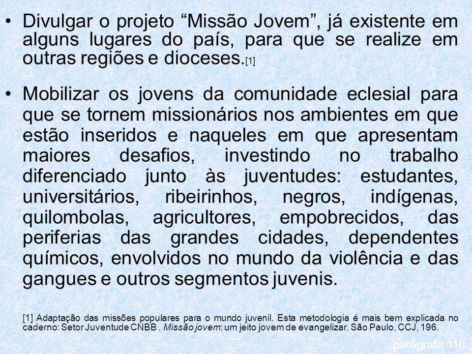 Divulgar o projeto Missão Jovem, já existente em alguns lugares do país, para que se realize em outras regiões e dioceses. [1] Mobilizar os jovens da