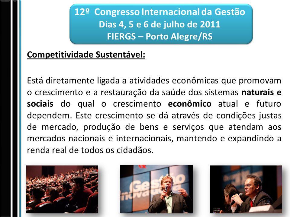 12º Congresso Internacional da Gestão Dias 4, 5 e 6 de julho de 2011 FIERGS – Porto Alegre/RS Competitividade Sustentável: Está diretamente ligada a a