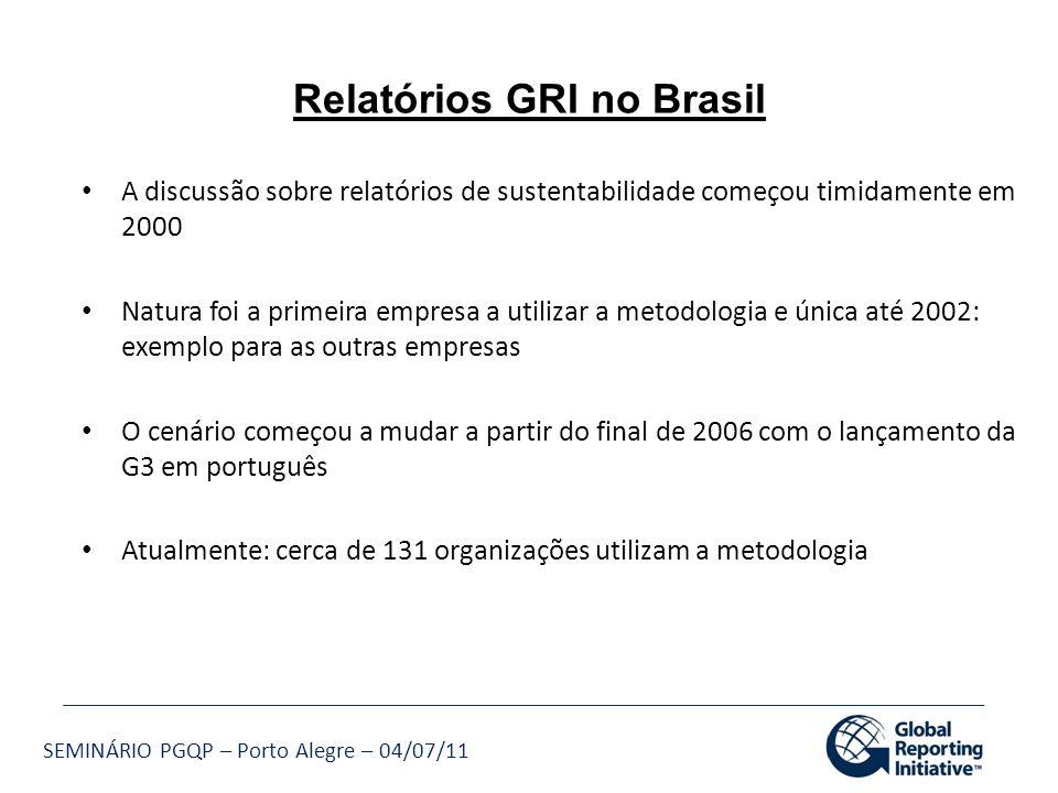 SEMINÁRIO PGQP – Porto Alegre – 04/07/11 Relatórios GRI no Brasil A discussão sobre relatórios de sustentabilidade começou timidamente em 2000 Natura
