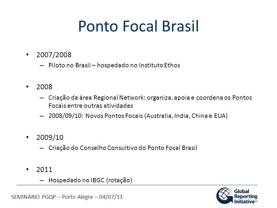 SEMINÁRIO PGQP – Porto Alegre – 04/07/11 Ponto Focal Brasil 2007/2008 – Piloto no Brasil – hospedado no Instituto Ethos 2008 – Criação da área Regiona