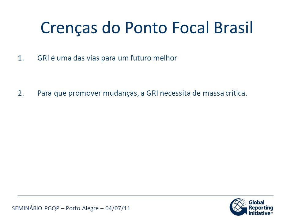 SEMINÁRIO PGQP – Porto Alegre – 04/07/11 Crenças do Ponto Focal Brasil 1.GRI é uma das vias para um futuro melhor 2.Para que promover mudanças, a GRI