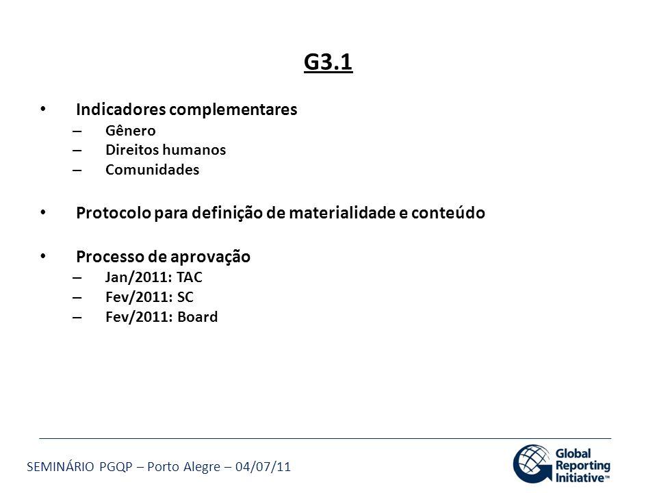 SEMINÁRIO PGQP – Porto Alegre – 04/07/11 G3.1 Indicadores complementares – Gênero – Direitos humanos – Comunidades Protocolo para definição de materia