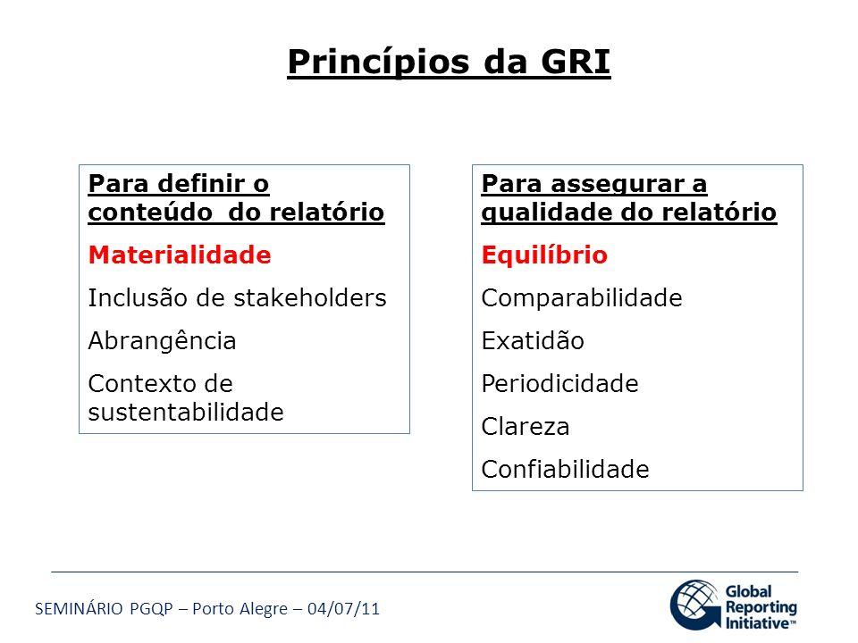 SEMINÁRIO PGQP – Porto Alegre – 04/07/11 Princípios da GRI Para assegurar a qualidade do relatório Equilíbrio Comparabilidade Exatidão Periodicidade C
