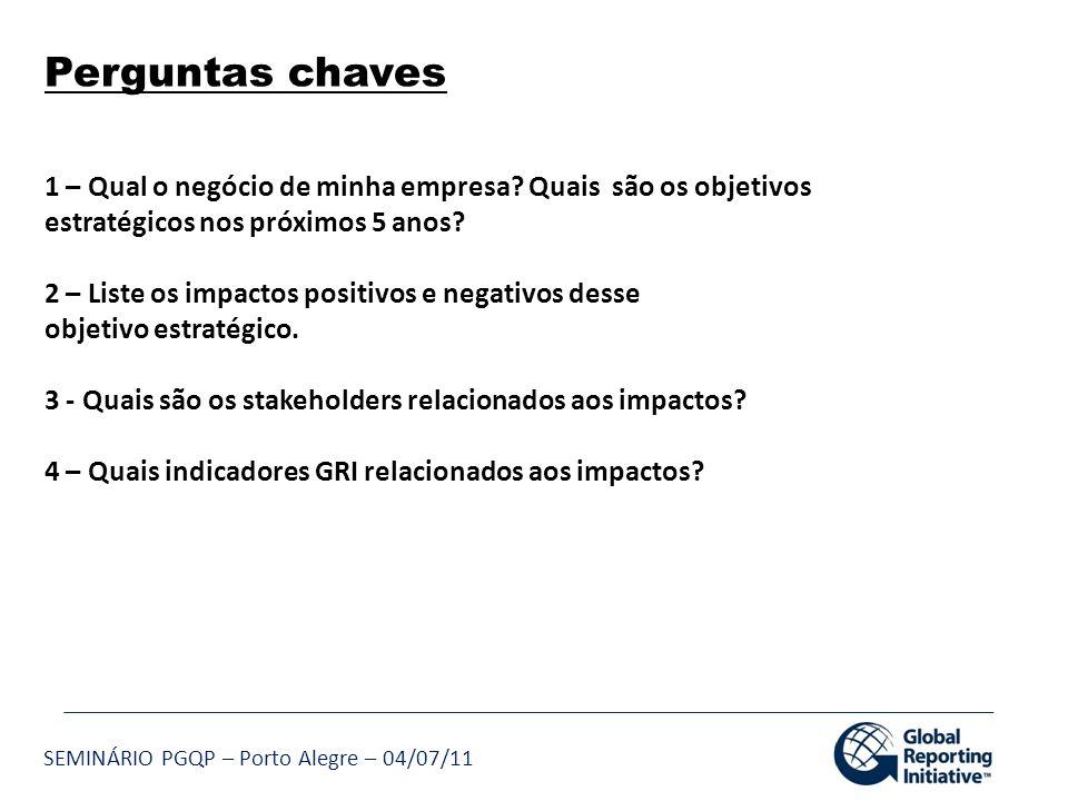 SEMINÁRIO PGQP – Porto Alegre – 04/07/11 Perguntas chaves 1 – Qual o negócio de minha empresa? Quais são os objetivos estratégicos nos próximos 5 anos