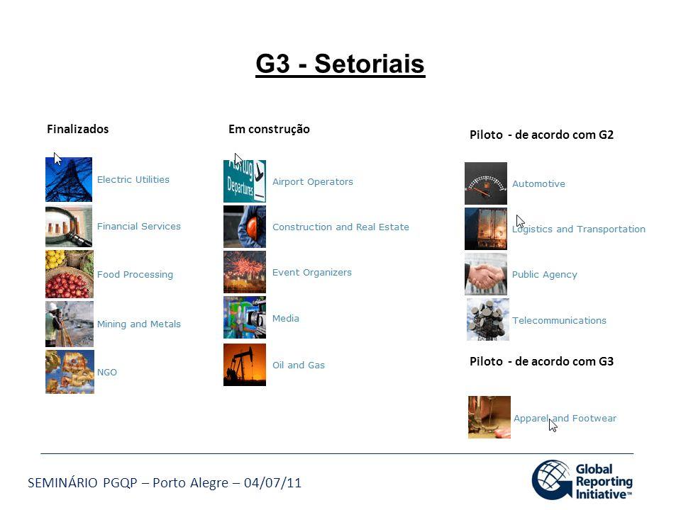 SEMINÁRIO PGQP – Porto Alegre – 04/07/11 FinalizadosEm construção Piloto - de acordo com G2 Piloto - de acordo com G3 G3 - Setoriais