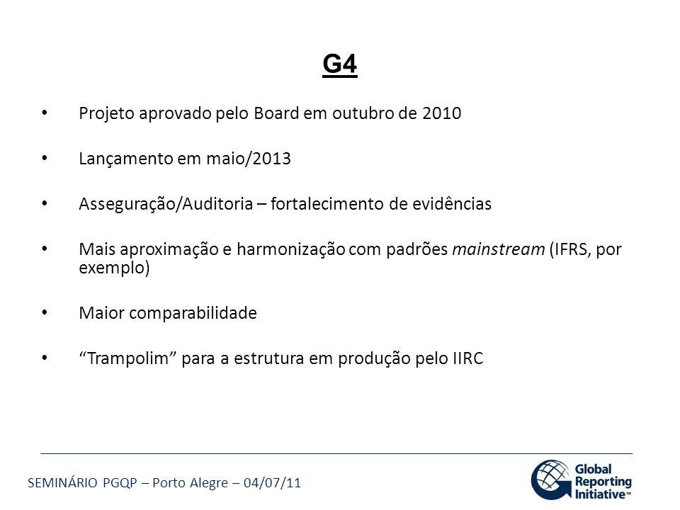 SEMINÁRIO PGQP – Porto Alegre – 04/07/11 Projeto aprovado pelo Board em outubro de 2010 Lançamento em maio/2013 Asseguração/Auditoria – fortalecimento