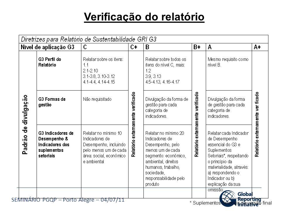 SEMINÁRIO PGQP – Porto Alegre – 04/07/11 Verificação do relatório * Suplementos Setoriais na versão final