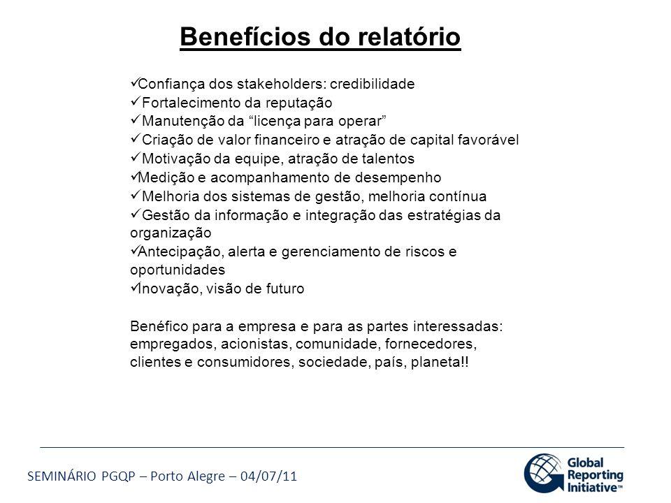 SEMINÁRIO PGQP – Porto Alegre – 04/07/11 Benefícios do relatório Confiança dos stakeholders: credibilidade Fortalecimento da reputação Manutenção da l