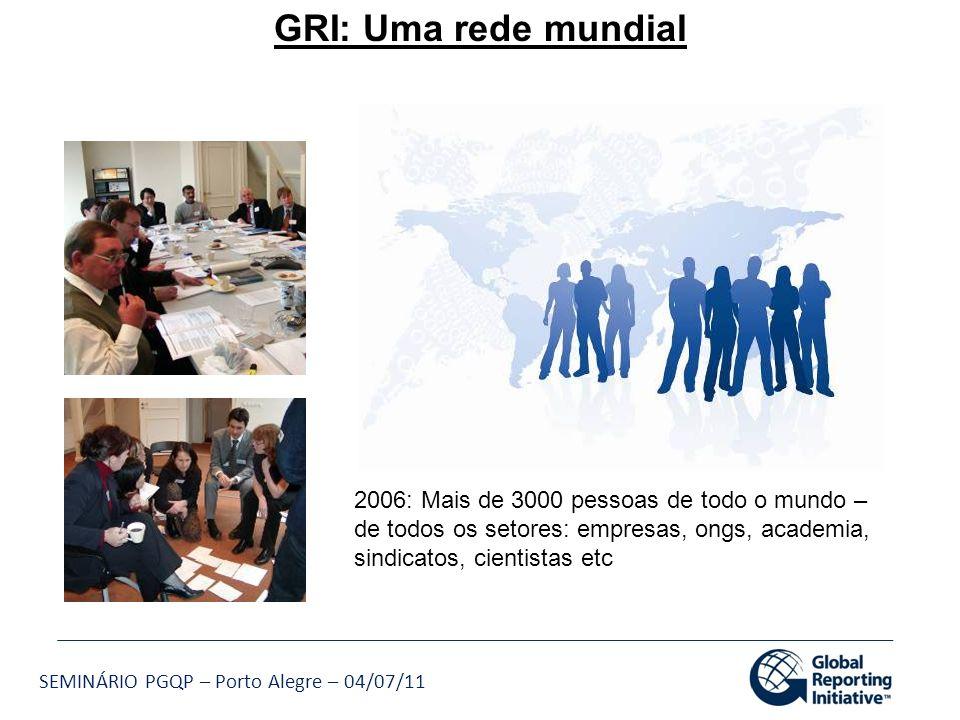 SEMINÁRIO PGQP – Porto Alegre – 04/07/11 GRI: Uma rede mundial 2006: Mais de 3000 pessoas de todo o mundo – de todos os setores: empresas, ongs, acade