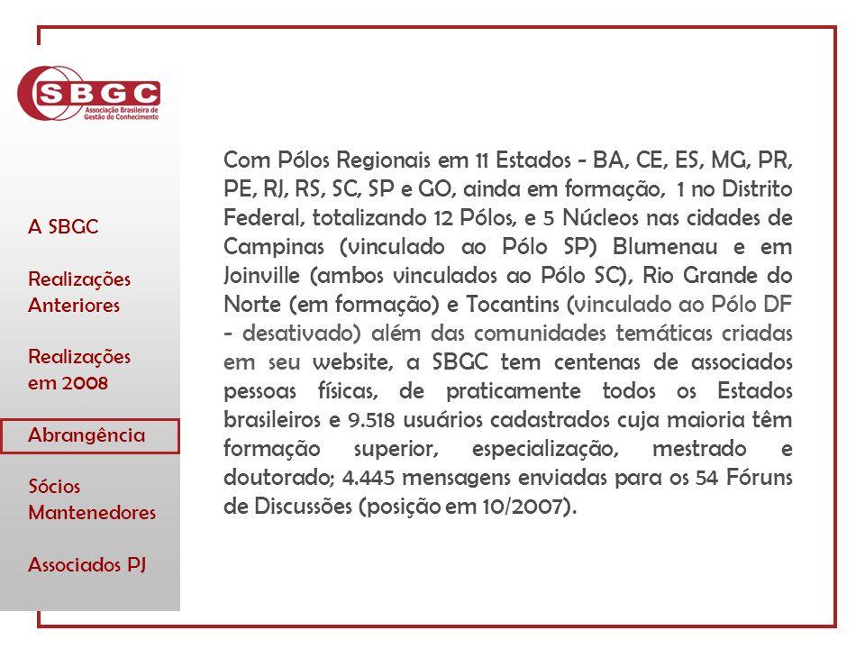 A SBGC Realizações Anteriores Realizações em 2008 Abrangência Sócios Mantenedores Associados PJ Com Pólos Regionais em 11 Estados - BA, CE, ES, MG, PR, PE, RJ, RS, SC, SP e GO, ainda em formação, 1 no Distrito Federal, totalizando 12 Pólos, e 5 Núcleos nas cidades de Campinas (vinculado ao Pólo SP) Blumenau e em Joinville (ambos vinculados ao Pólo SC), Rio Grande do Norte (em formação) e Tocantins (vinculado ao Pólo DF - desativado) além das comunidades temáticas criadas em seu website, a SBGC tem centenas de associados pessoas físicas, de praticamente todos os Estados brasileiros e 9.518 usuários cadastrados cuja maioria têm formação superior, especialização, mestrado e doutorado; 4.445 mensagens enviadas para os 54 Fóruns de Discussões (posição em 10/2007).