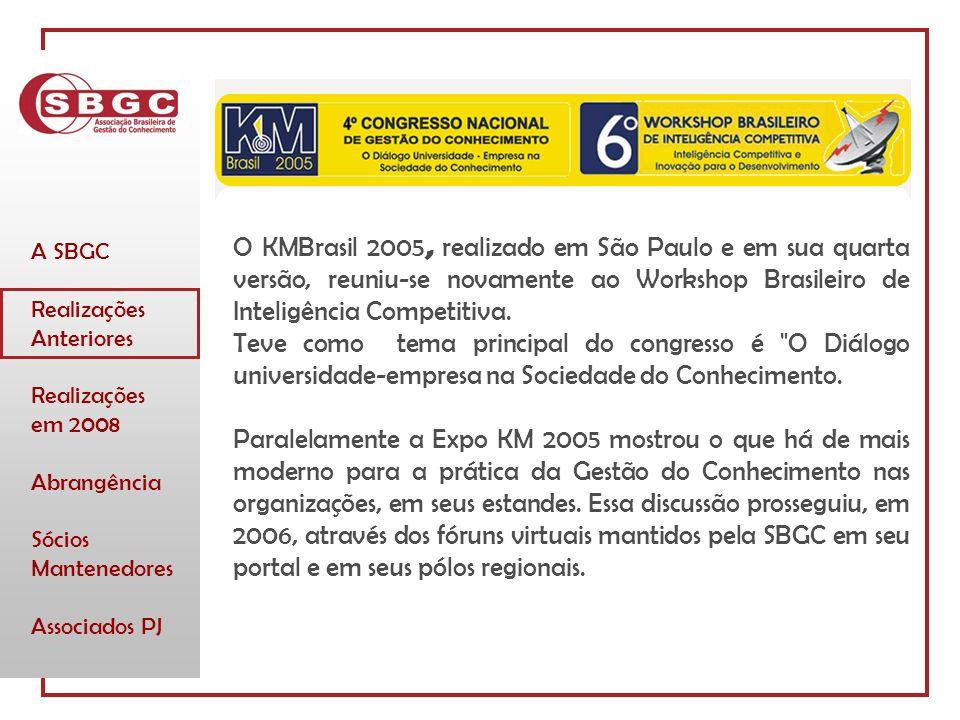 A SBGC Realizações Anteriores Realizações em 2008 Abrangência Sócios Mantenedores Associados PJ O KMBrasil 2005, realizado em São Paulo e em sua quarta versão, reuniu-se novamente ao Workshop Brasileiro de Inteligência Competitiva.