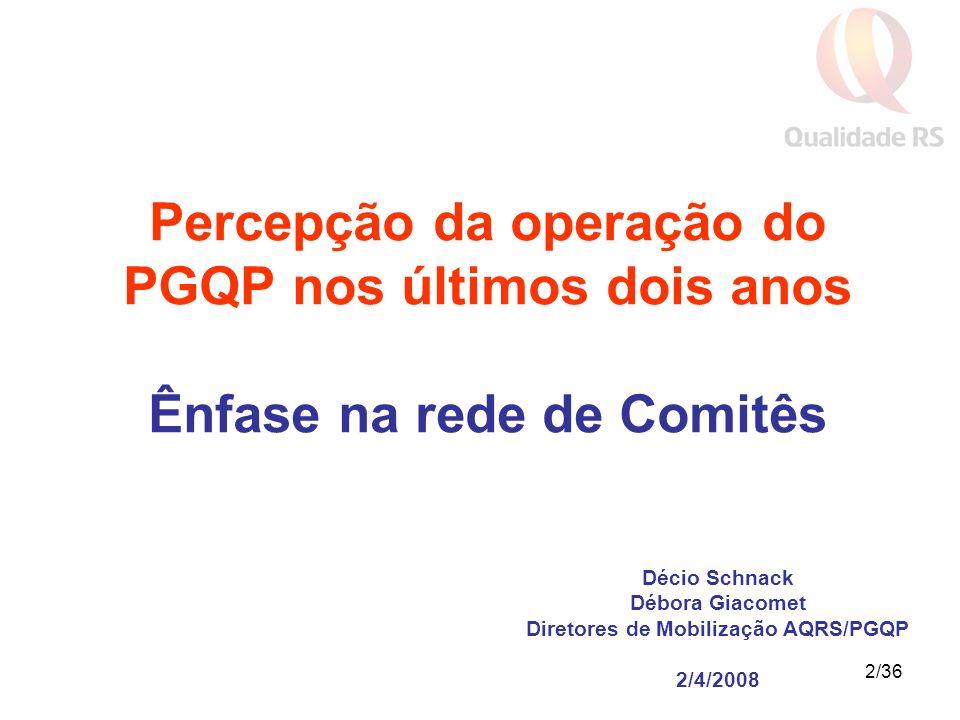 2/36 Décio Schnack Débora Giacomet Diretores de Mobilização AQRS/PGQP 2/4/2008 Percepção da operação do PGQP nos últimos dois anos Ênfase na rede de Comitês