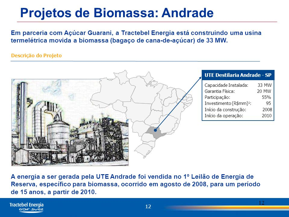 12 Em parceria com Açúcar Guarani, a Tractebel Energia está construindo uma usina termelétrica movida a biomassa (bagaço de cana-de-açúcar) de 33 MW.
