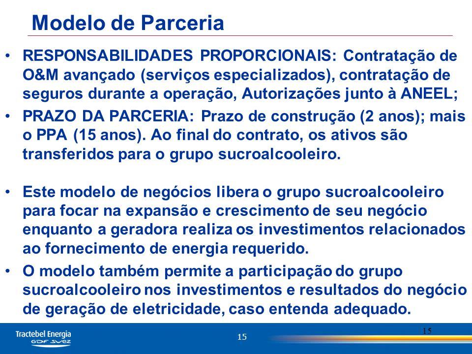 15 RESPONSABILIDADES PROPORCIONAIS: Contratação de O&M avançado (serviços especializados), contratação de seguros durante a operação, Autorizações junto à ANEEL; PRAZO DA PARCERIA: Prazo de construção (2 anos); mais o PPA (15 anos).