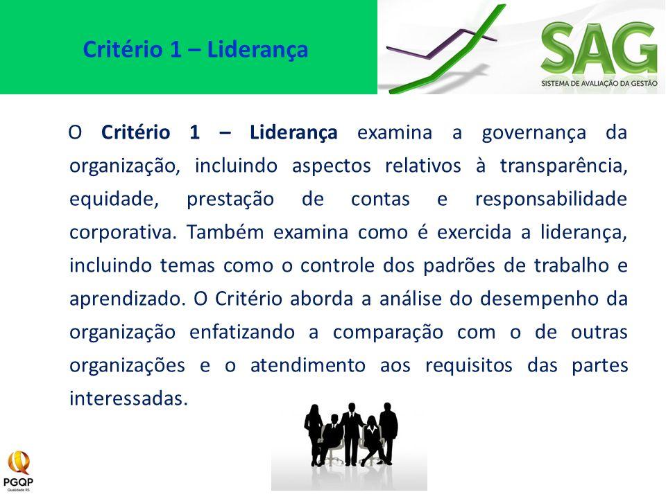 O Critério 1 – Liderança examina a governança da organização, incluindo aspectos relativos à transparência, equidade, prestação de contas e responsabi