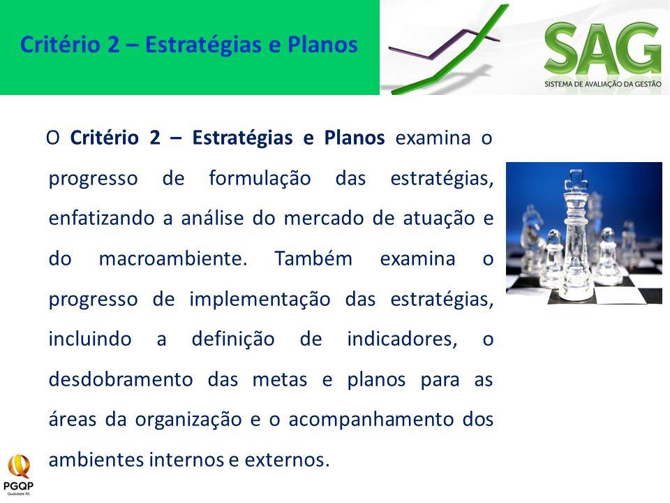 O Critério 2 – Estratégias e Planos examina o progresso de formulação das estratégias, enfatizando a análise do mercado de atuação e do macroambiente.