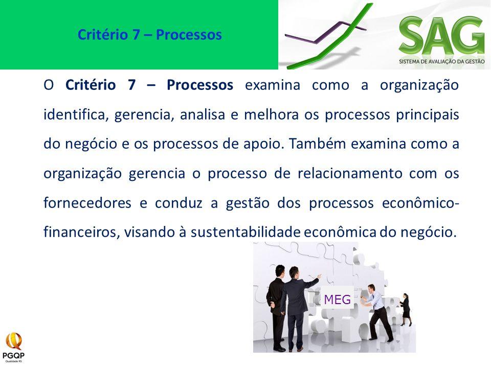 O Critério 7 – Processos examina como a organização identifica, gerencia, analisa e melhora os processos principais do negócio e os processos de apoio