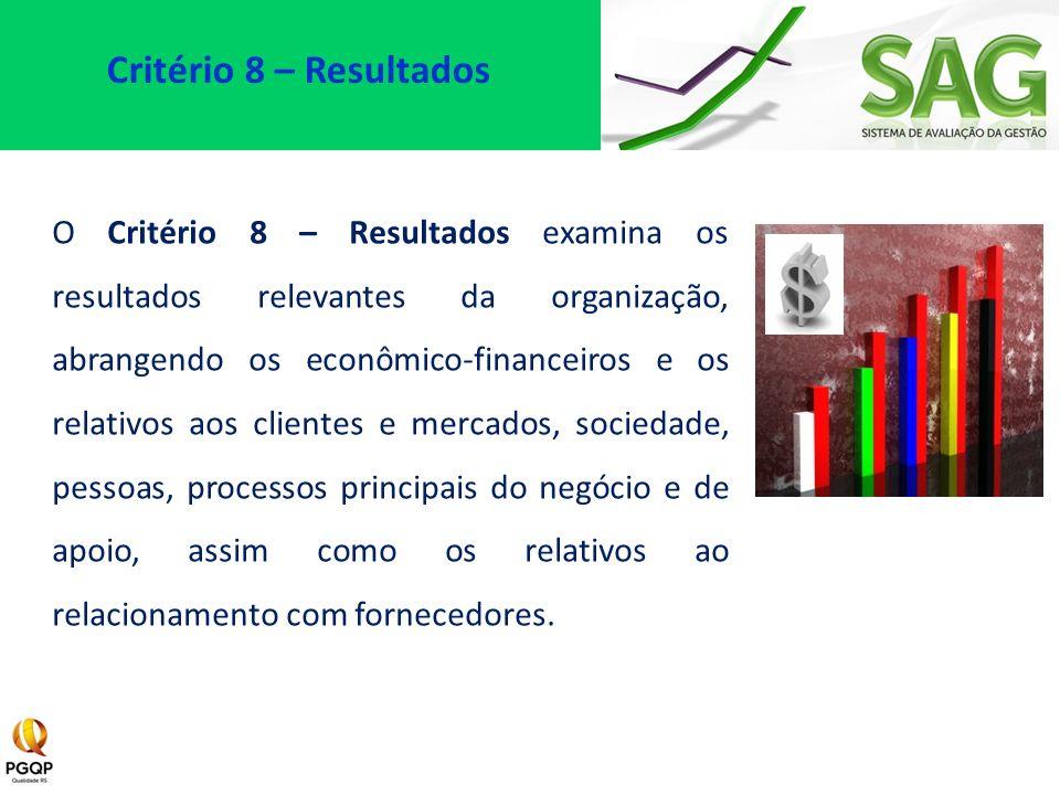 O Critério 8 – Resultados examina os resultados relevantes da organização, abrangendo os econômico-financeiros e os relativos aos clientes e mercados,