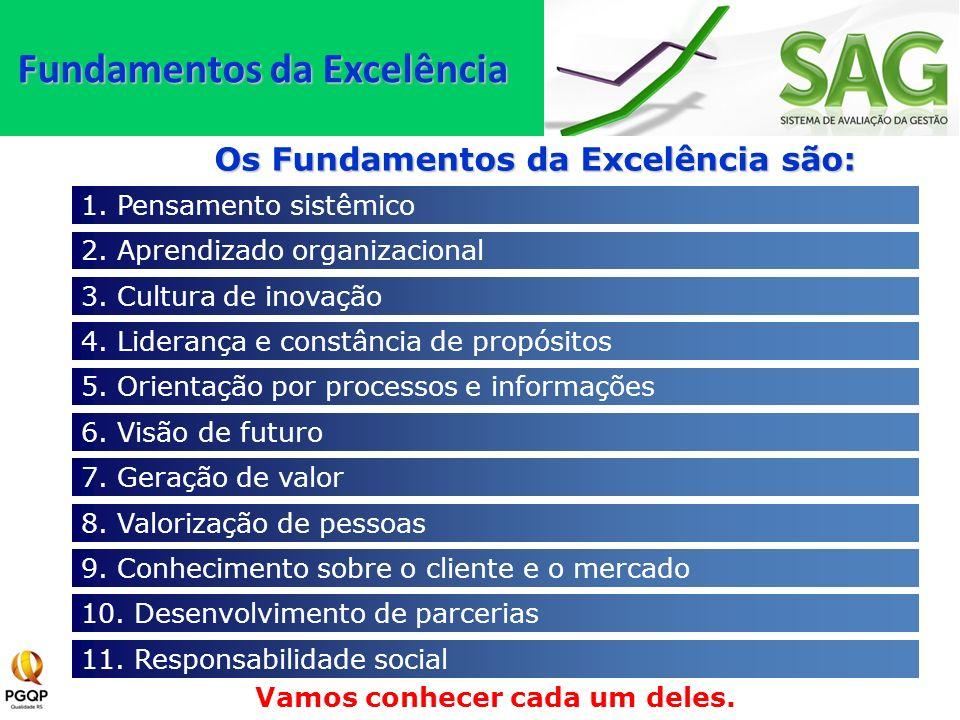 1. Pensamento sistêmico 2. Aprendizado organizacional 3. Cultura de inovação 4. Liderança e constância de propósitos 5. Orientação por processos e inf