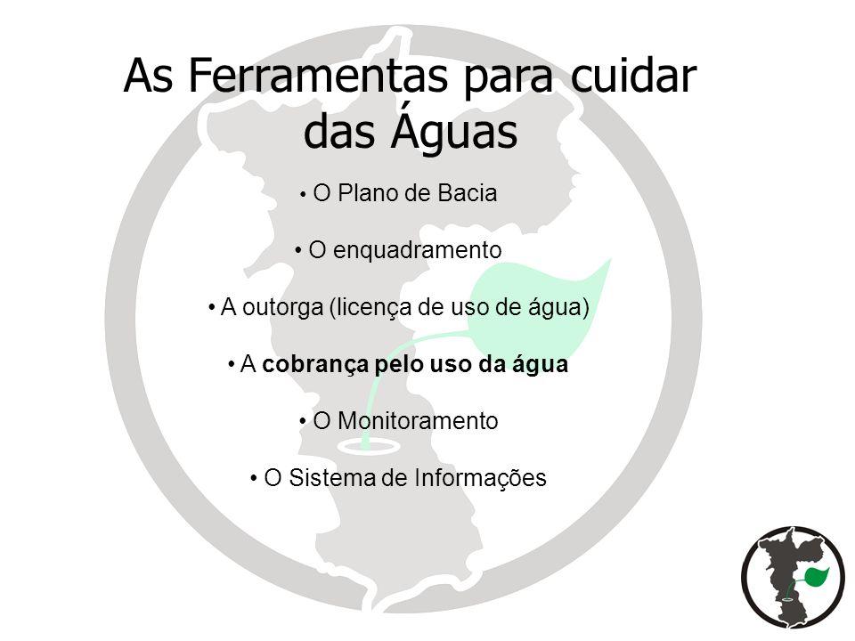 O Plano de Bacia O enquadramento A outorga (licença de uso de água) A cobrança pelo uso da água O Monitoramento O Sistema de Informações As Ferramenta