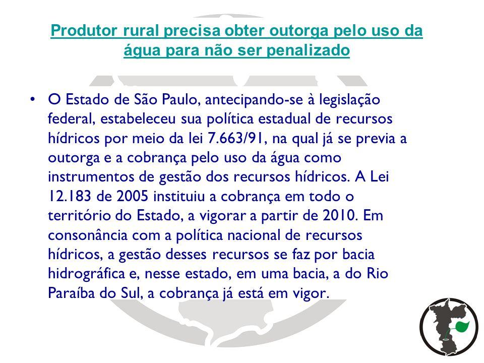 O Estado de São Paulo, antecipando-se à legislação federal, estabeleceu sua política estadual de recursos hídricos por meio da lei 7.663/91, na qual j