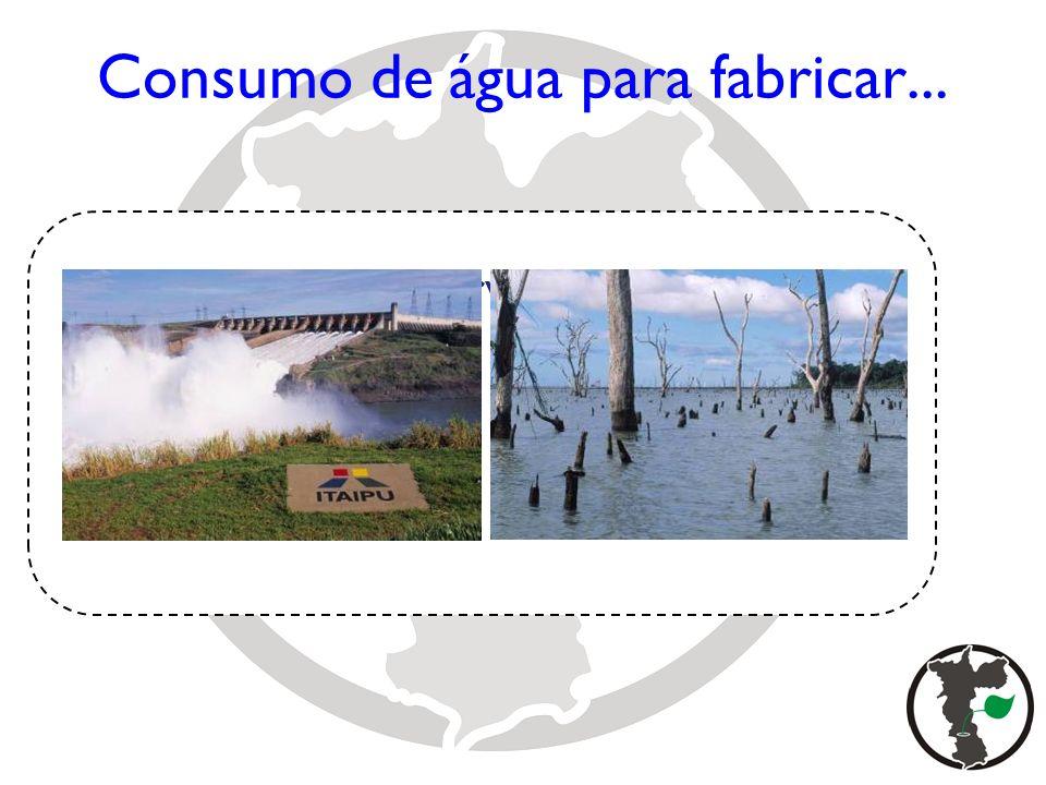 Construção de reservatórios e barragens Matriz Energética Consumo de água para fabricar...