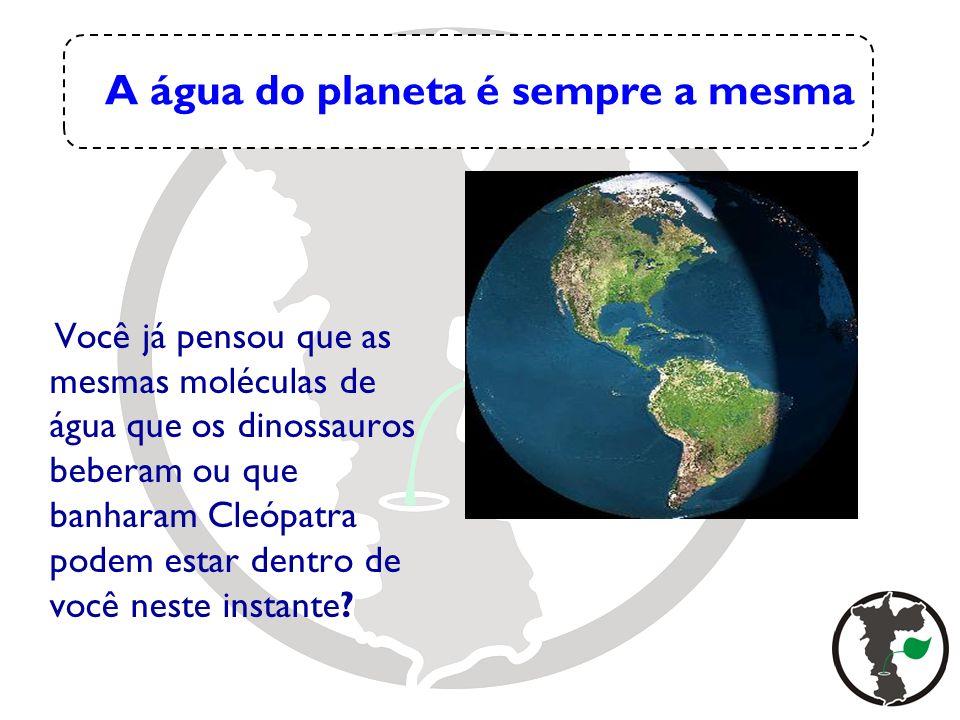 A água do planeta é sempre a mesma Você já pensou que as mesmas moléculas de água que os dinossauros beberam ou que banharam Cleópatra podem estar den
