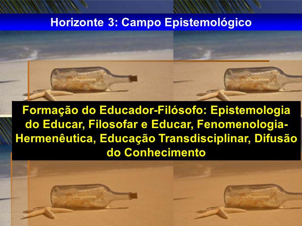 Formação do Educador-Filósofo: Epistemologia do Educar, Filosofar e Educar, Fenomenologia- Hermenêutica, Educação Transdisciplinar, Difusão do Conheci