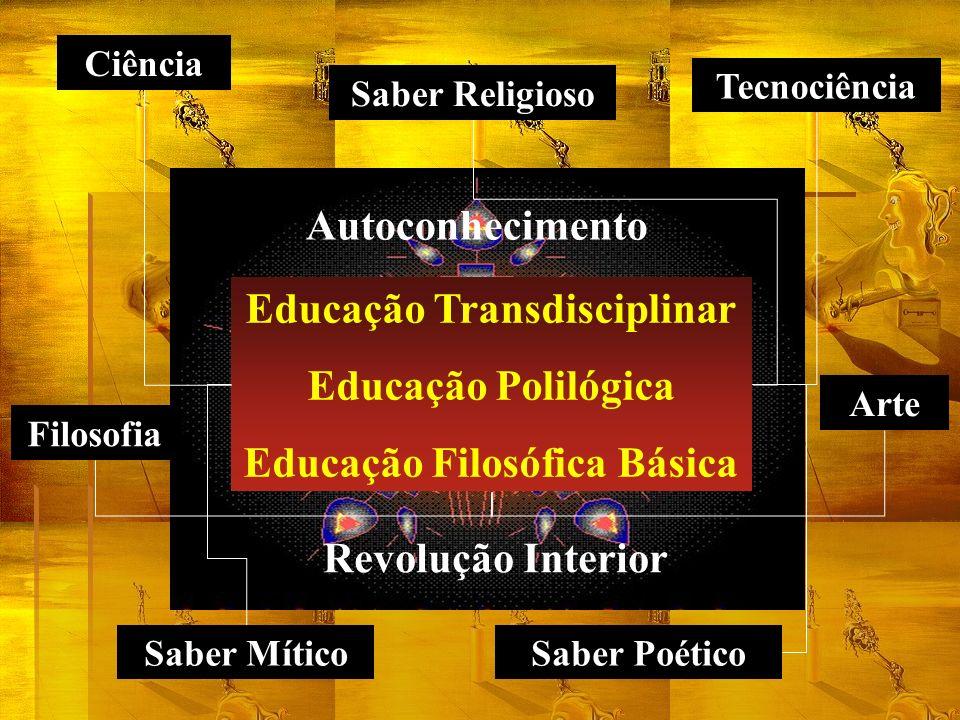 Educação Transdisciplinar Educação Polilógica Educação Filosófica Básica Ciência Tecnociência Arte Filosofia Saber Mítico Saber Religioso Saber Poétic