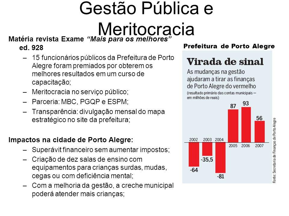 Gestão Pública e Meritocracia Matéria revista Exame Mais para os melhores ed. 928 –15 funcionários públicos da Prefeitura de Porto Alegre foram premia