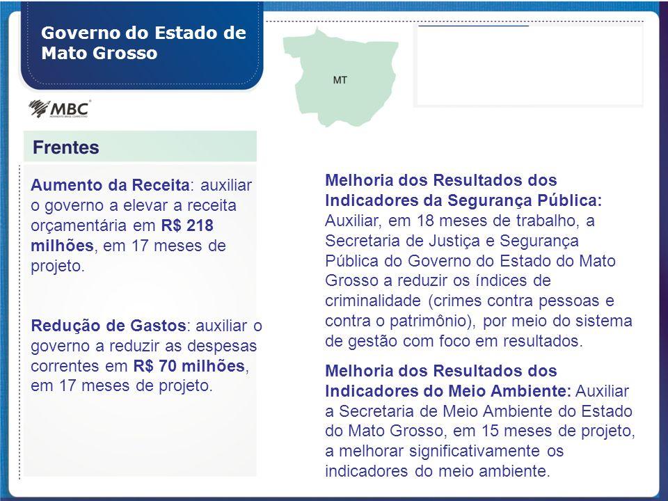 Governo do Estado de Mato Grosso Aumento da Receita: auxiliar o governo a elevar a receita orçamentária em R$ 218 milhões, em 17 meses de projeto. Red