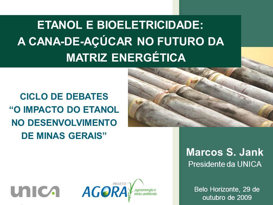 Marcos S. Jank Presidente da UNICA Belo Horizonte, 29 de outubro de 2009 ETANOL E BIOELETRICIDADE: A CANA-DE-AÇÚCAR NO FUTURO DA MATRIZ ENERGÉTICA CIC