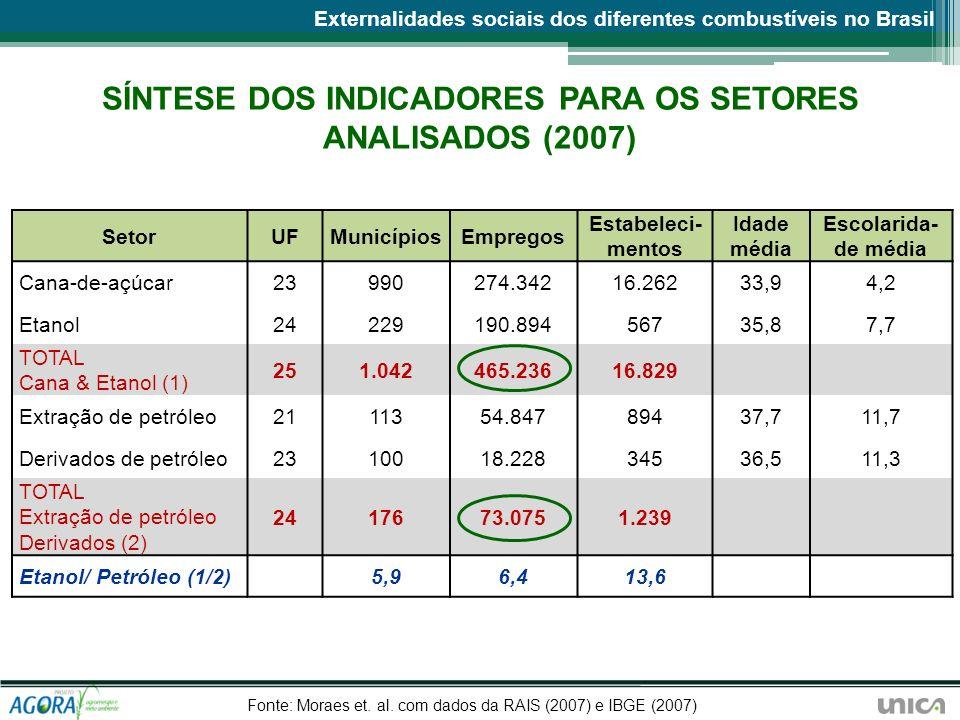 SÍNTESE DOS INDICADORES PARA OS SETORES ANALISADOS (2007) SetorUFMunicípiosEmpregos Estabeleci- mentos Idade média Escolarida- de média Cana-de-açúcar