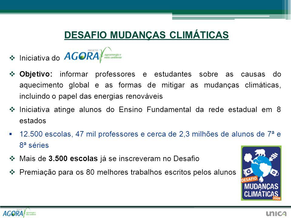 DESAFIO MUDANÇAS CLIMÁTICAS Iniciativa do Objetivo: informar professores e estudantes sobre as causas do aquecimento global e as formas de mitigar as