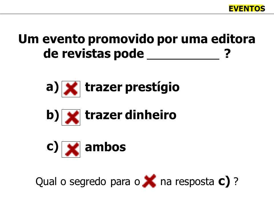 EVENTOS Um evento promovido por uma editora de revistas pode ___________ .