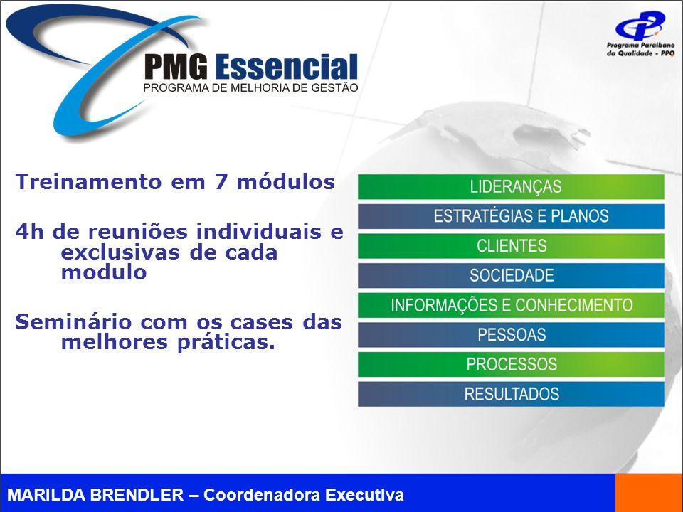 Treinamento em 7 módulos 4h de reuniões individuais e exclusivas de cada modulo Seminário com os cases das melhores práticas.