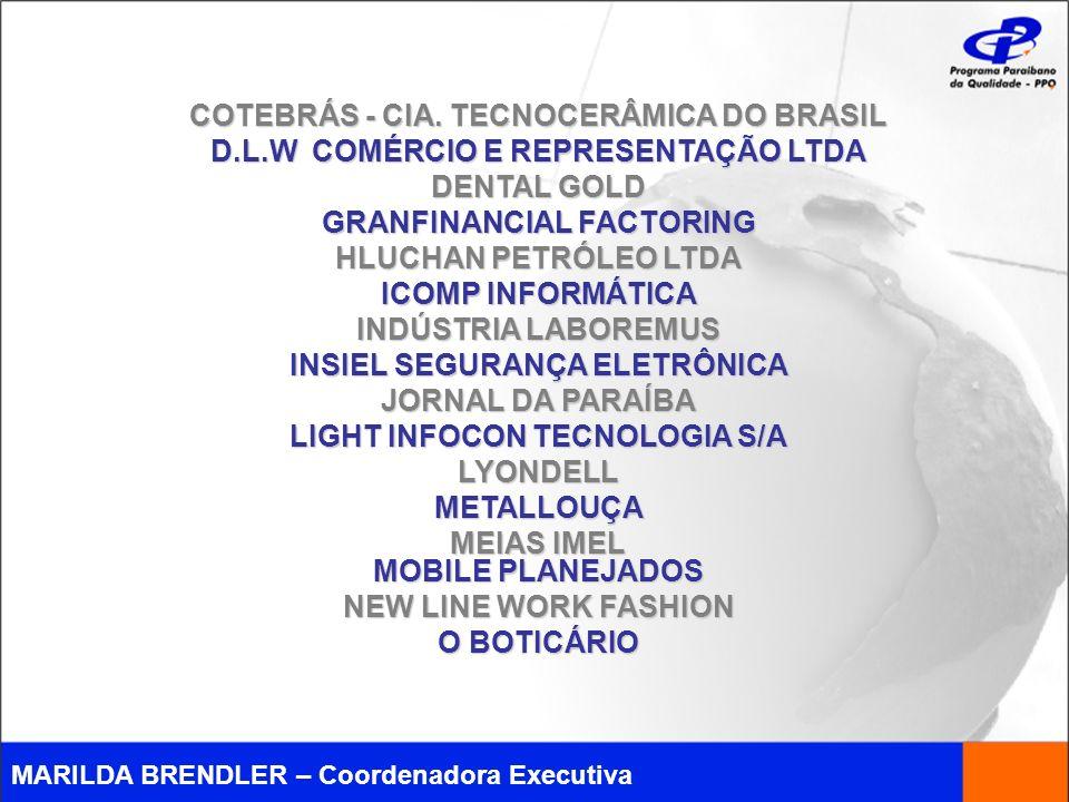 MARILDA BRENDLER – Coordenadora Executiva COTEBRÁS - CIA. TECNOCERÂMICA DO BRASIL D.L.W COMÉRCIO E REPRESENTAÇÃO LTDA DENTAL GOLD GRANFINANCIAL FACTOR