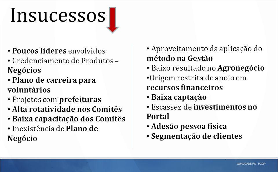 Insucessos Aproveitamento da aplicação do método na Gestão Baixo resultado no Agronegócio Origem restrita de apoio em recursos financeiros Baixa capta