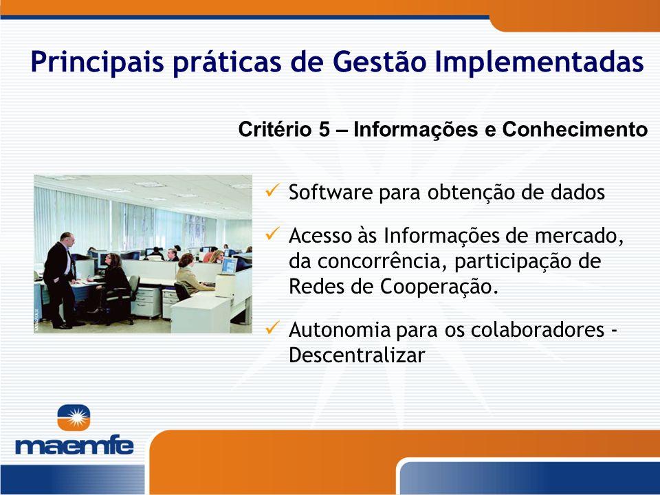 Principais práticas de Gestão Implementadas Software para obtenção de dados Acesso às Informações de mercado, da concorrência, participação de Redes d