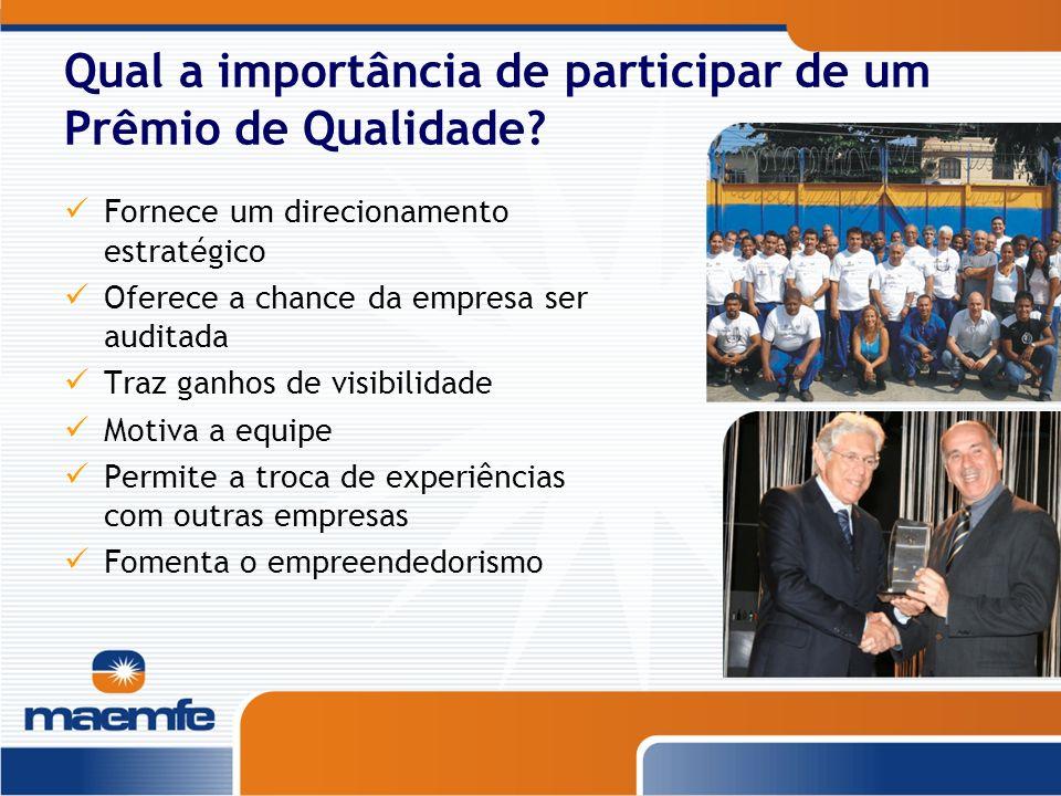 Qual a importância de participar de um Prêmio de Qualidade? Fornece um direcionamento estratégico Oferece a chance da empresa ser auditada Traz ganhos