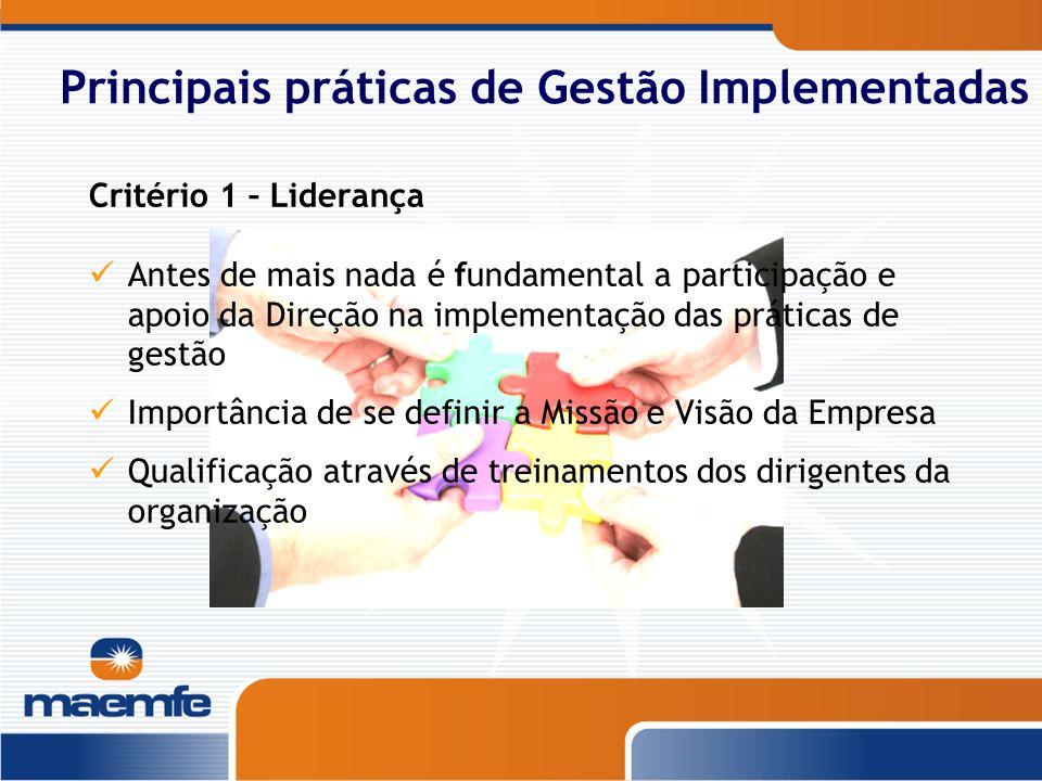 Principais práticas de Gestão Implementadas Critério 1 – Liderança Antes de mais nada é fundamental a participação e apoio da Direção na implementação