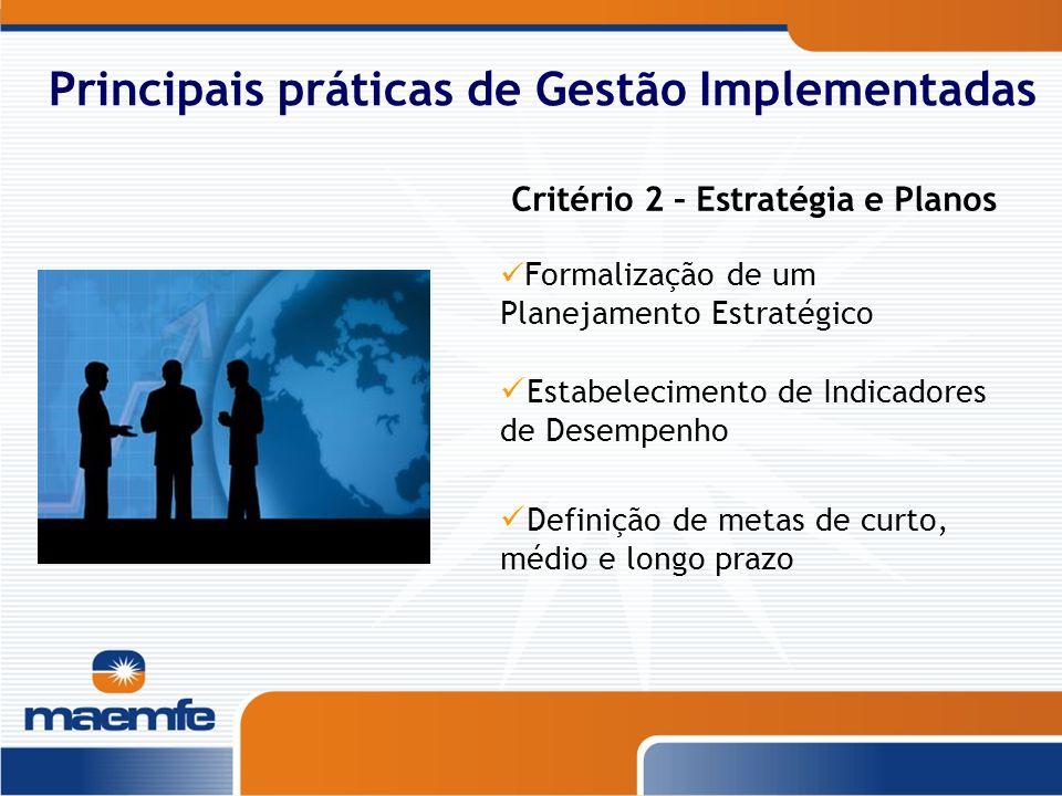 Principais práticas de Gestão Implementadas Formalização de um Planejamento Estratégico Estabelecimento de Indicadores de Desempenho Definição de meta