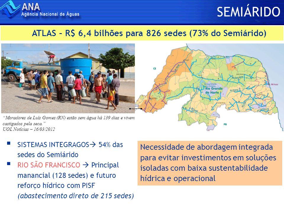 SEMIÁRIDO SISTEMAS INTEGRAGOS 54% das sedes do Semiárido RIO SÃO FRANCISCO Principal manancial (128 sedes) e futuro reforço hídrico com PISF (abasteci